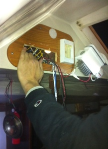 Patrick tries to figure out the wiring ...
